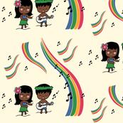 Hula Kids with Rainbows