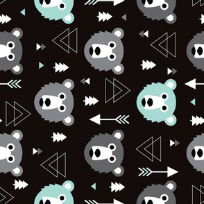 Geometric grizzly bear woodland illustration pattern flipped rotated