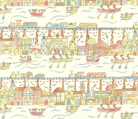 Whimsical Hayle in Cornwall, UK fabric by lauraflorencedesign on Spoonflower - custom fabric