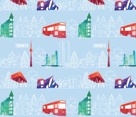 Toronto_watercolour- fabric by rikkandesigns on Spoonflower - custom fabric