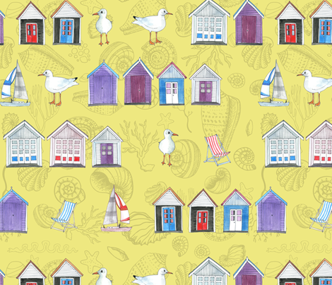 Bournemouth Beach Huts - on Sand with shells fabric by cecca on Spoonflower - custom fabric
