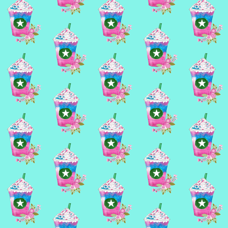 Unicorn frappuccino with flowers fabric by calaismcneely on Spoonflower - custom fabric