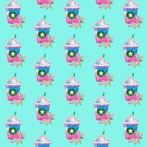 Unicorn frappuccino with flowers