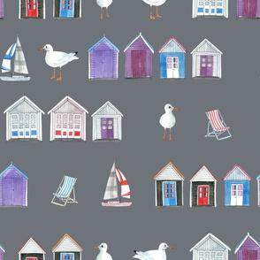 Bournemouth Beach Huts - on Grey