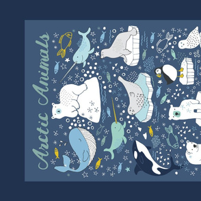 Arctic Animals - Tea Towel - blue and mustard
