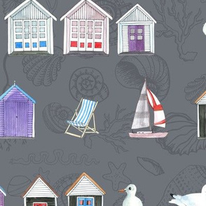 Bournemouth Beach Huts - on Grey with shells