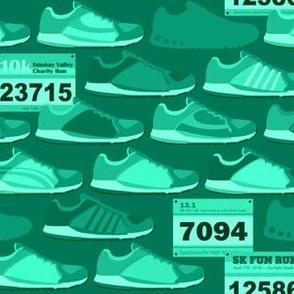 Running Shoes & Race Bibs - Teal