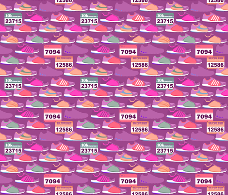 Running Shoes & Race Bibs - Magenta fabric by run_quiltgirl_run on Spoonflower - custom fabric