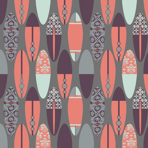 Surfboards on Gray - Plum & Coral