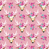 Modern bohemian flowers summer deer in watercolors pink