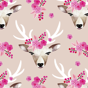 Modern bohemian flowers summer deer in watercolors beige LARGE