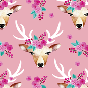 Modern bohemian flowers summer deer in watercolors pink LARGE