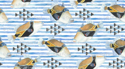 watercolor humu stripe with triangles on white