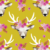 Modern bohemian flowers summer deer in watercolors mustard yellow LARGE