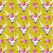 Modern bohemian flowers summer deer in watercolors mustard yellow
