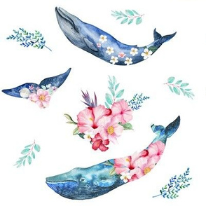 "8"" Summer Floral Whales"