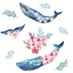 "6"" Summer Floral Whales"