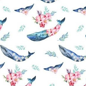 "4"" Summer Floral Whales"