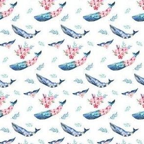"2"" Summer Floral Whales"
