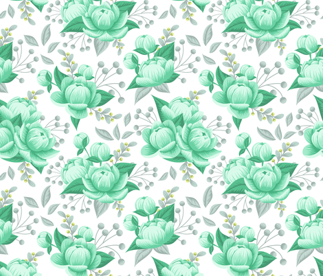 Mint Beauty fabric by nataliasdesign on Spoonflower - custom fabric