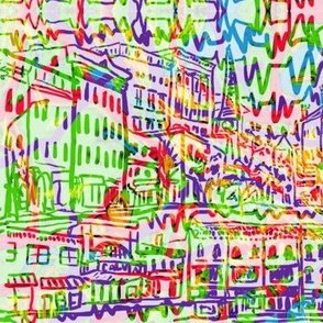 Northampton MA Cityscape Sketch