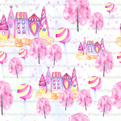 Watercolor candy city with sakura