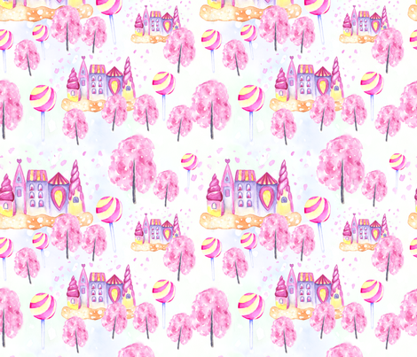 Watercolor candy city with sakura fabric by kotyplastic on Spoonflower - custom fabric