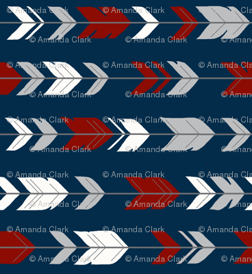 arrow Feathers rotated - red and grey on navy