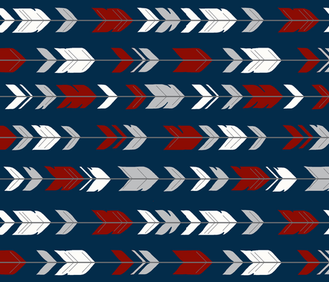 arrow Feathers rotated - red and grey on navy fabric by sugarpinedesign on Spoonflower - custom fabric