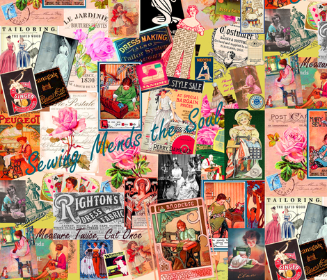 Sewing  Memories, Multi colored pastiche fabric by artland95 on Spoonflower - custom fabric