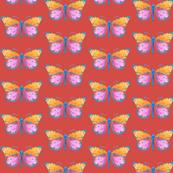 Medium small butterflies, colourful on brownish red || shirt top blouse night gown woman dress fun trendy man men girl kid women