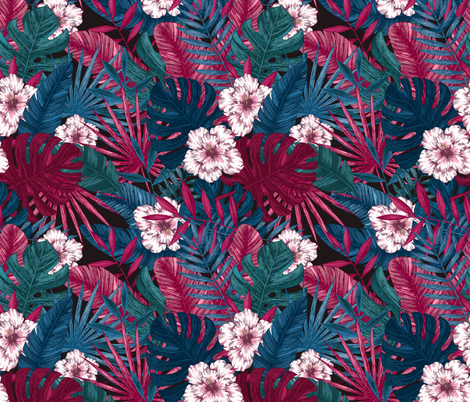 Exotic leaves fabric by adehoidar on Spoonflower - custom fabric