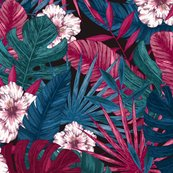 Rexotic_leaves_and_flowers_seamless_pattern._tropical_floral_background._vector_illustration_shop_thumb