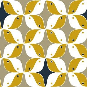 60s style birds in ocher/beige/navy
