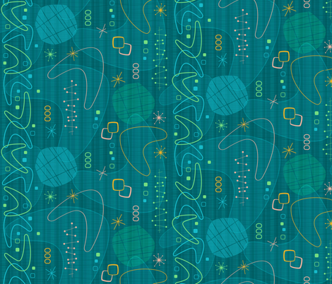 Teal Space Age Shapes fabric by xoxotique on Spoonflower - custom fabric
