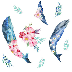 "21"" Summer Floral Whales - 90 degrees"