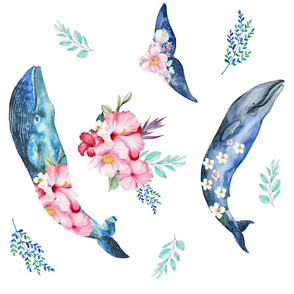 "18"" Summer Floral Whales - 90 degrees"