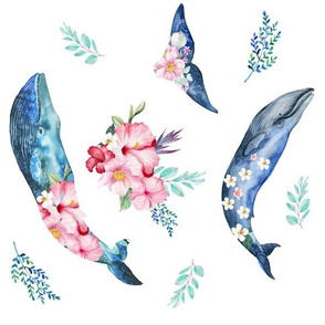 "12"" Summer Floral Whales - 90 degrees"