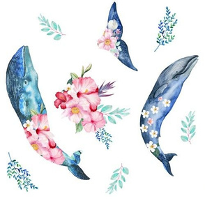 """10"""" Summer Floral Whales - 90 degrees"""