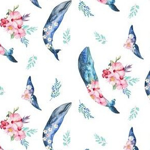 "4"" Summer Floral Whales - 90 degrees"