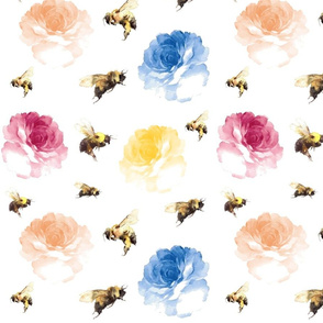 whimsical_bee_and_flowers watercolor
