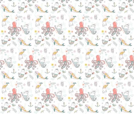 "10.5"" Mermaid Cat Nautical Paradise fabric by shopcabin on Spoonflower - custom fabric"