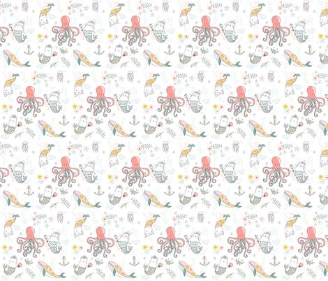 "9"" Mermaid Cat Nautical Paradise fabric by shopcabin on Spoonflower - custom fabric"