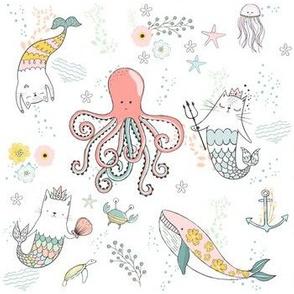 """7"""" Mermaid Cat Nautical Paradise"""