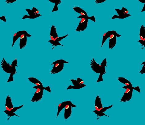 Red-winged Blackbirds - Blue fabric by murderbird on Spoonflower - custom fabric