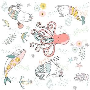 """21"""" Mermaid Cat Nautical Paradise - 90 degrees"""