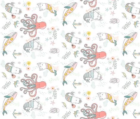 "18"" Mermaid Cat Nautical Paradise - 90 degrees fabric by shopcabin on Spoonflower - custom fabric"