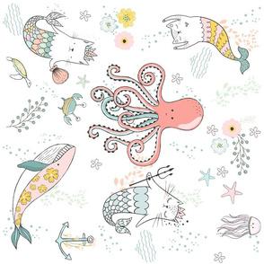 """18"""" Mermaid Cat Nautical Paradise - 90 degrees"""