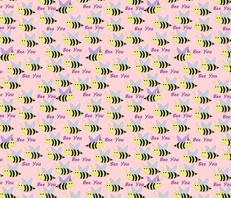 bee you pink fabric by pamelachi on Spoonflower - custom fabric