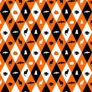 Halloween argyle black and orange